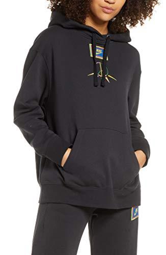 NIKE CJ3572-010 Sudadera con Capucha Peace Pack Fleece para Mujer, Black/Green Spark, L