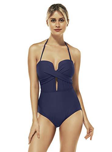 Reteron Women's Deep V Plunge Tummy Control One Piece Swimsuit Monokini (Blue Depths, XL 14-16)