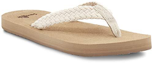 Sanuk Women's Stacker Braid Flip-Flop, White, 6