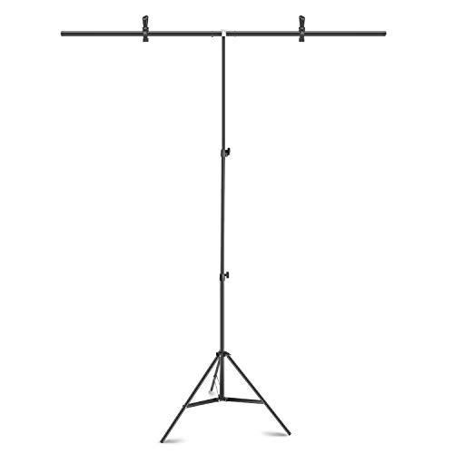 Neewer 1,5 x 2 m T-förmiger Hintergrundstativ:höhenverstellbarer Stativständer und Querstange mit 2 Packungen Hochleistungs-Hintergrundklemmen für Fotostudio oder Videofotografie