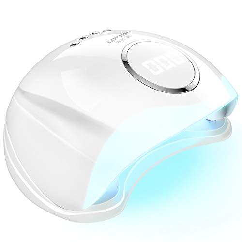 LOFTER Lampara LED Uñas 48W Profesional Secador de Uñas LED UV Lampara Uñas Gel Semipermanentes Maquina Uñas Luz UV Nail Lamp con Sensor Automatico, 4 Temporizadores 10s/30s/60s/99s y Guantes Anti-UV