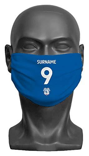 Personalised Cardiff City FC Back Of Shirt Adult Face Mask - Medium