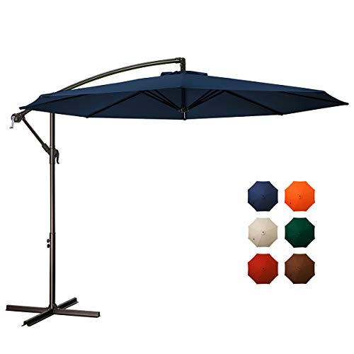 MEWAY 10ft Outdoor Umbrella Backyard Umbrella Deck Umbrella Cantilever Patio Umbrella with Crank & Cross Base, Easy to Instal (10ft, Navy)
