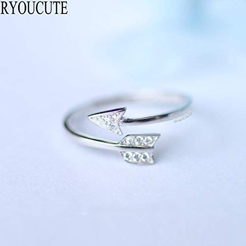 Overdreven persoonlijkheid 925 Sterling Zilver Crystal Arrow Love Rings voor vrouwen Verstelbare maat ringen Fashion Wedding Jewelry