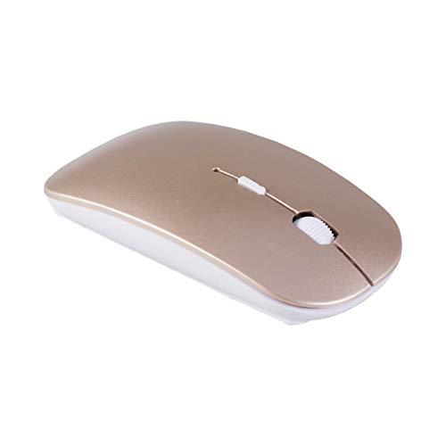 LEDMOMO Ratón Inalámbrico, 2.4G Ratón Inalámbrico Delgado Mini Cordless Gaming Mice, Ratones ópticos Portátiles Móviles para Notebook, PC, Ordenador Portátil, Ordenador, Macbook (Dorado)