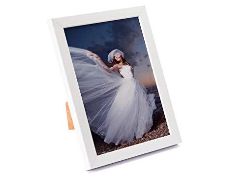 Artepoint Holz Bilderrahmen von 9x13 bis 30x40 Querformat und Hochformat zum Aufhängen und Aufstellen Rahmen Farbe Weiß - Format 24x30