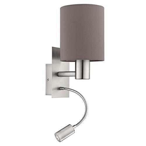 EGLO LED Wandlampe Pasteri, 2 flammige Textil Wandleuchte, Material: Stahl, Stoff, Farbe: nickel matt, anthrazit braun, Fassung: E27, inkl. Schalter und flexiblen LED-Leselicht