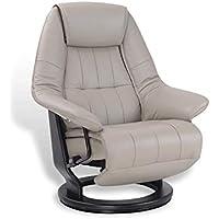 Eros, sillón de relax eléctrico, muy cómodo, de piel gris, beige, topo, giratorio 360°, puf integrado, diseño, ahorro de espacio, excelente calidad
