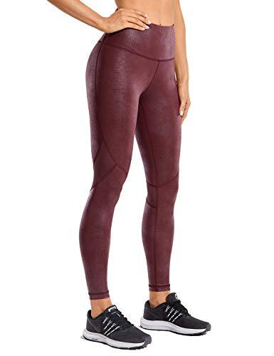 CRZ YOGA Pantalones Deportivos para Mujer Pantalones de Cuero de Imitación -63.5cm Vino Tinto 44