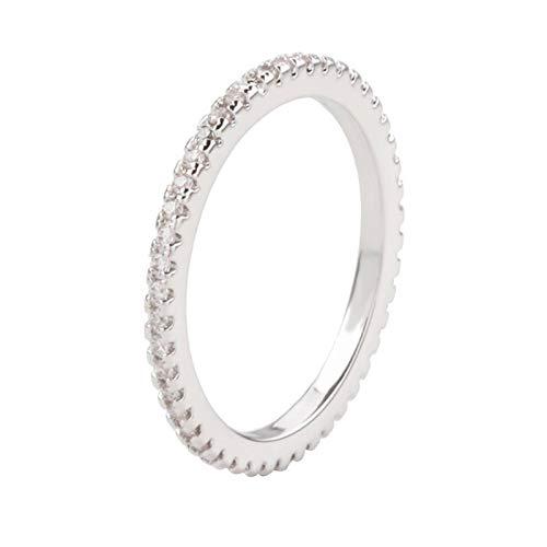 KnBoB Anillo de Compromiso Blanco Oro Plateado Circón Blanco Anillo para Mujer 13.5