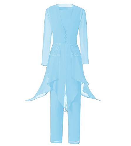 LoveeToo - Vestido de gasa con encaje para mujer, 3 piezas, para la madre de la novia, manga larga, con chaqueta para bodas azul pastel 46