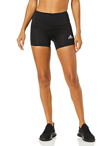 adidas Women's 4-Inch Compression Fit Quarter Length Volleyball Performance Yoga Short Tights, Black, Large