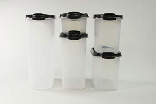 Tupperware Eidgenossen 2,3L+1,7L+1,1L (2) +500ml schwarz mit Schütte Modular 36911