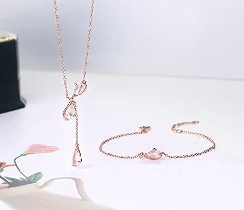 LOKILOKI Conjunto De Joyas Sakura Plata De Ley 925 Flores De Cerezo Pétalo Cuarzo Rosa Chapado En Oro Rosa Joyería Fina Collar De Estilo Japonés Pulsera