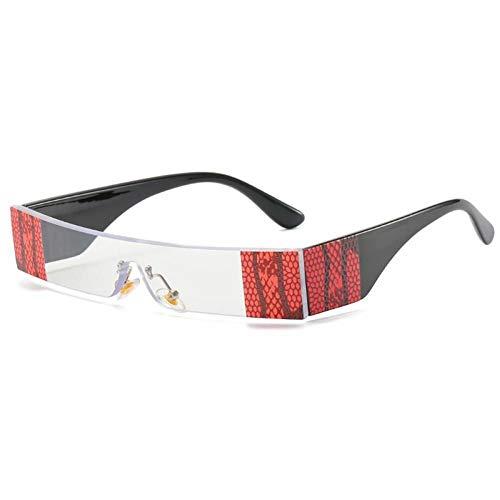 ZZOW Gafas De Sol Rectangulares De Una Pieza para Mujer, Gafas con Lentes Transparentes Tintadas, Gafas De Sol Sin Montura con Patrón Vintage, Gafas para Exteriores para Hombres