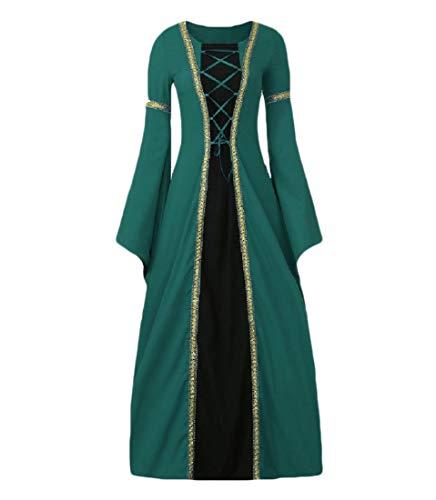 Aooword-vrouwen kleding Womens Square Neck Middeleeuwse Horn-Sleeve Kostuum Elven Jurk Lange Jurk