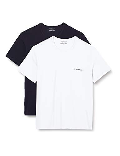 Emporio Armani Underwear Mens 2-Pack Core Logoband T-Shirt, Marine/White, XL
