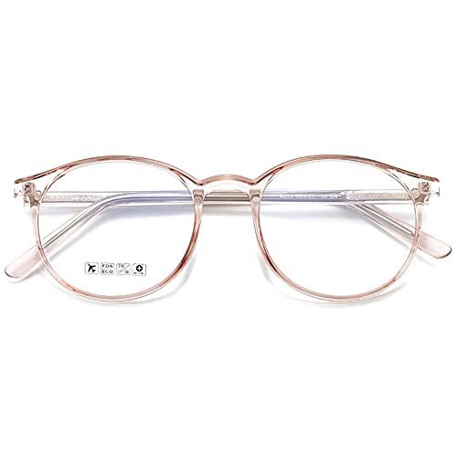 KOOSUFA Blaulichtfilter Brille Retro Rund Ultra Licht TR90 Brillengestelle Anti Blaulicht Brillen Ohne Sehstärke Damen Herren Computerbrille Gaming Brille Anti Müdigkeit mit Etui (Durchsichtig Braun)