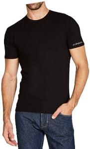 Kappa Ropa interior K1305 para hombre, de manga corta, cuello redondo, talla L, color negro, 100% algodón peinado, paquete de 1 unidad