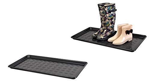 Kreher Aktions-Set: 2 x XL Mehrzweckablage, Schuhablage aus Kunststoff in Schwarz. Rechteckig, ca. 79 x 38 x 3 cm. Robust und abwaschbar.