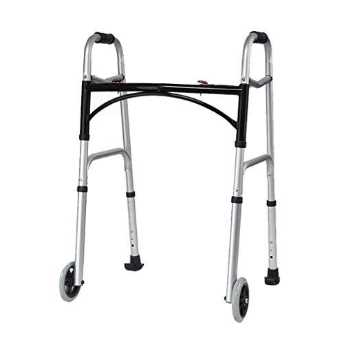 Caminantes para personas mayores Marco para caminar, marco de caminar bariátrico de servicio pesado para personas mayores, caminante plegable con 2 ruedas y asas de plástico duraderas, ayuda de movili