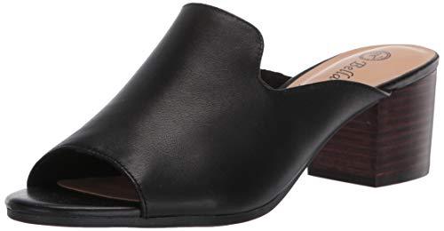 Bella Vita Women's Fashion Casual Heeled Sandal, Black Leather, 8 X-Wide