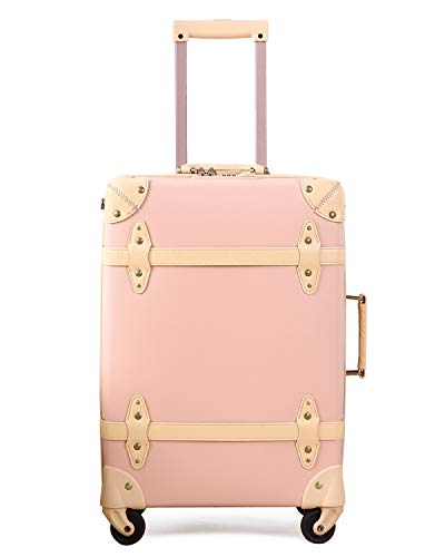 Vintage Luggage Retro Suitcase Travel - HoJax Classic Trolley Luggage with Spinner Wheels, TSA Lock, Lightweight, 24 inch, Pink