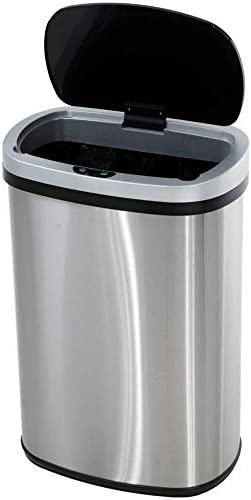 Touch Free Automatic Stainless Steel Trash Can Garbage Can Metal Trash Bin with Lid for Kitchen product image