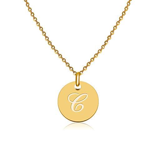 Good.Designs Damen Halskette mit eingraviertem Buchstaben (kursiv) C Carina Carla Carlotta Carola Caroline Celina Celine Charlotte Cheyenne Chiara Christin Chris