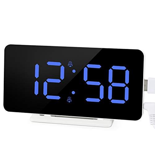 Edillas Digitaler Wecker,LED-Großanzeige Doppelalarm Spiegeloberflächenuhr mit Schlummerfunktion und 3 Stufen Helligkeitsverstellbarer USB-Ladeanschluss Wecker für Schlafzimmer Wohnzimmer Büro(Blau)