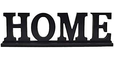"Rustic Wood Home Sign for Home Decor, Decorative Wooden Cutout Word Decor Freestanding Home Tabletop Decor, 16.5"" X 5"" Black Home Block Letters Sign Family Mantel Fireplace Decor"