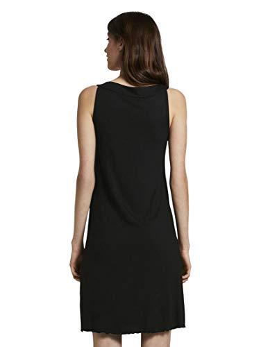 TOM TAILOR Damen Kleider & Jumpsuits Ärmelloses Neckholder-Kleid mit Print Deep Black,38