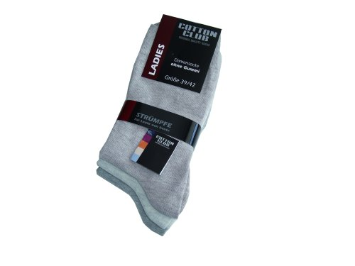 Cotton Club Damen-Socken ohne Gummi mit Lycra 6erPack (35-38, natur grau beige)
