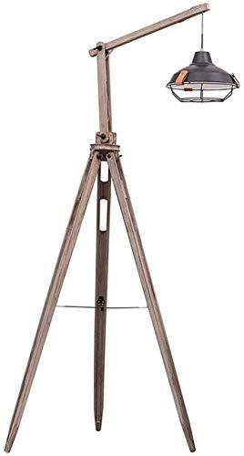 XXLYY Standing Lamp Tripod Floor Light Industrial Vintage Design, Adjustable Nautical Spotlight Vintage Studio Wooden Light with Foot Switch and Hanging Lampshade, 158cm