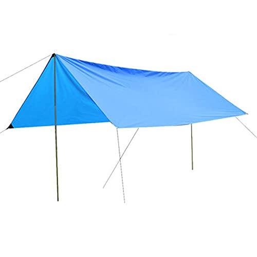 GHGD Lona para Acampar, Carpa Al Aire Libre Refugio para El Sol Lona para Acampar Impermeable Ultraligera con Bolsa De Transporte para Viajes De Campamento Pesca Diversión En El Patio Trasero,Azul