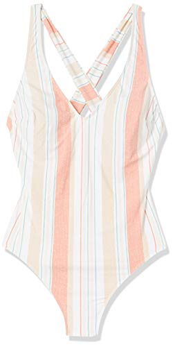 Roxy Junior's Printed Beach Classics One Piece Swimsuit, Bright White True Stripes Sample, L