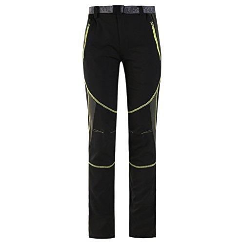 CIKRILAN Homme Respirant Quick Dry Wicking Élastique Pantalon Outdoor Sport Camping Randonnée Escalade Pantalon (Medium, Noir-Vert)