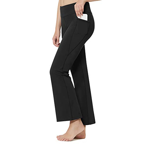 Inno Butty-Soft Bootcut Yoga Pants for Women with Pockets Tummy Control High Waist Workout Long Bootleg Flare Casual Pants Black