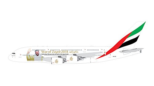 GeminiJets GEMGJ1747 1:400 Emirates Airbus A380-800 Sheik Zayed Reg #A6-EUZ (pre-Painted/pre-Built)
