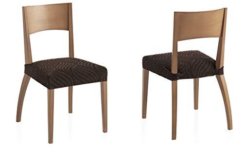 Bartali Pack Dos Fundas elásticas sillas Aitana - Color marrón -Tamaño (45 x 45 cm).