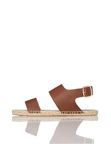 FIND Damen Sandalen mit Espadrilles-Sohle, Braun
