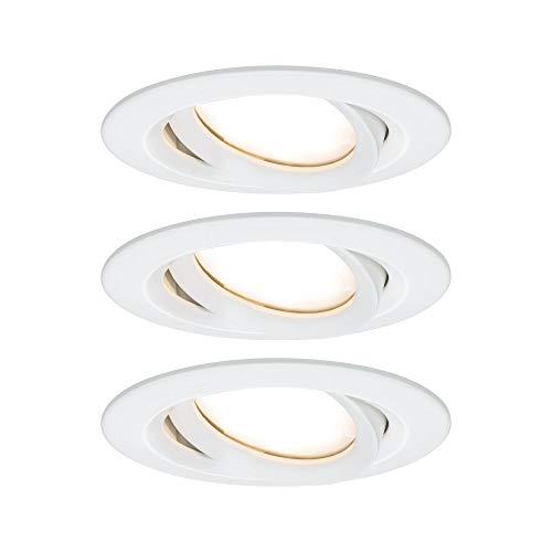 Paulmann 93682 Nova Plus LED Einbauleuchte rund schwenkbar incl. 3x6,8 Watt IP65 dimmbar Einbaustrahler Weiß matt Spot Aluminium Einbaulampe 2700 K