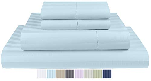 Threadmill Home Linen 500 Thread Count 100% Extra-Long Staple Cotton Sheet Set, King Sheets, Damask Stripe Hemstitch Luxury Bedding - Super Sale, King Sheets 4 Piece Set,Smooth Sateen Weave,Blue
