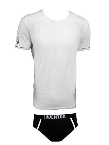 Juventus Coordinato Uomo Slip + t-Shirt Girocollo Cotone Elasticizzato Prodotto Ufficiale Juve Art. JU11056 (XXL, Bianco)