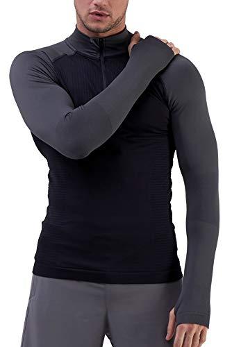 TCA Męska koszulka treningowa Legend SuperKnit Engineer z długim rękawem i zamkiem błyskawicznym do biegania - Black/Smoke Grey (Czarny/Szary), M
