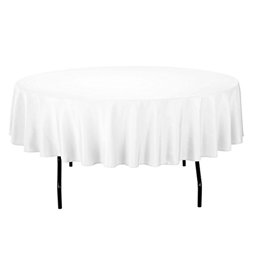 Gee Di Moda Tablecloth - 70' Inch Round Tablecloths for Circular Table Cover in White Washable Polyester - Great for Buffet Table, Parties, Holiday Dinner & More