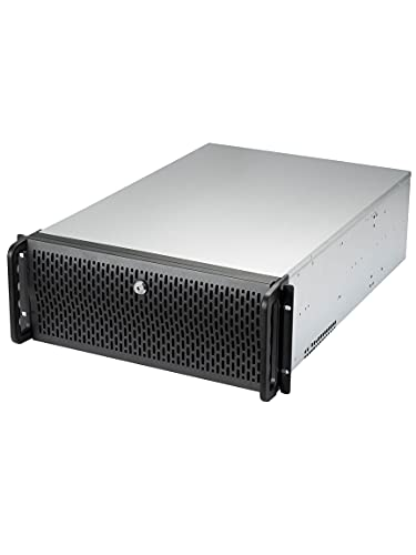 """Rosewill 4U Server Chassis 12 Bay Server Case 12x 3.5 HDD Bays, E-ATX Board, Rackmount Server Case, Include Front 3X 120mm Fans Rear 2X 80mm Fans Metal Rack Mount Computer Case 25"""" Deep, RSV-L4412U"""