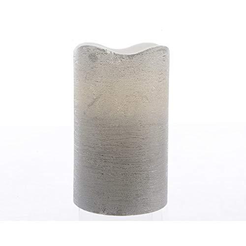 Kaemingk Bougie LED rustique en cire - Couleur : argent - 10 cm.