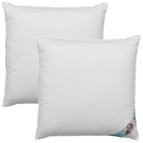 DILUMA | Kopfkissen 80x80 cm 2er Set Premium Dreikammerkissen mit Daunen Federn Füllung - Dreikammer-Kopfkissen mit Bezug aus 100% Baumwolle - Daunenfedernkissen für einen gesunden Schlaf