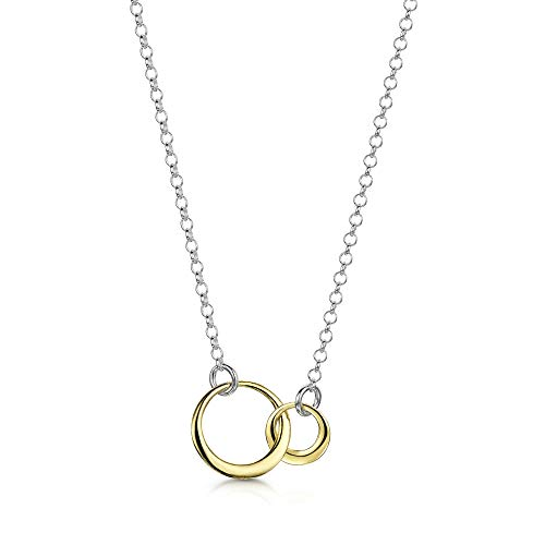 Amberta 925 Sterling Silver 1.9 mm Rolo Chain Necklace for Women - Gold Plated Interlocking Circle Pendant - Adjustable Length from 16 to 17 inch